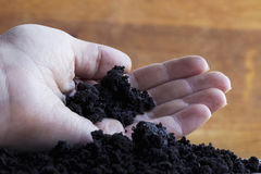 A handful of black earth in hand Royalty Free Stock Photo