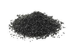 A handful of black silicon carbide powder Royalty Free Stock Image