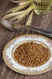 Handful of buckwheat Royalty Free Stock Images
