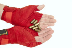 Handful of bullets Stock Images
