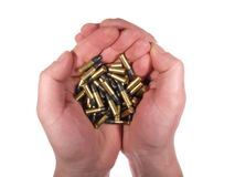 Handful of bullets isolated on white. Royalty Free Stock Photo