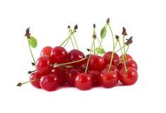 Handful cherry berries. Handful of berries cherry closeup isolated on white Royalty Free Stock Photos