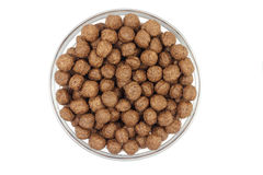 Handful of chocolate balls in a glass container Royalty Free Stock Photography