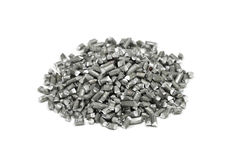 A handful of chopped aluminum wire Stock Photos