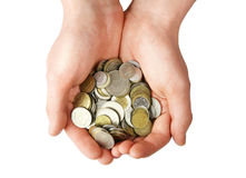 Handful of coins Royalty Free Stock Images
