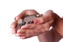 Handful Coins Royalty Free Stock Photos
