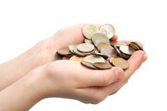 Handful of coins Royalty Free Stock Photography
