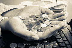Handful coins Royalty Free Stock Photography
