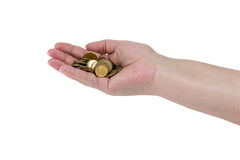 A handful of coins in the hands of an elderly woman royalty free stock image