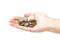 Handful of coins in palm hand royalty free stock photos