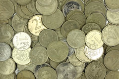 A handful of coins Russian rubles  background Stock Images