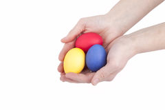 Handful colored easter eggs Royalty Free Stock Photos