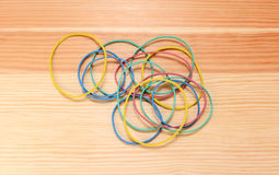 Handful of coloured elastic bands Royalty Free Stock Photography
