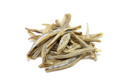 A handful of dried anchovies Royalty Free Stock Photos