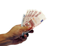 Handful of Euro. An image of a hand holding a handful of European currency, Euro stock image