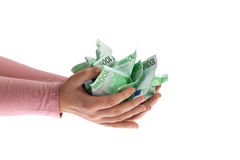 A handful of Euros Royalty Free Stock Image