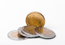 A Handful of Euros and Euro Cents Stock Photography