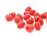Handful of fresh raspberries. Isolated on white background Stock Images