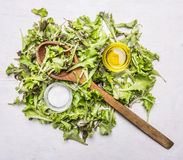 Handful fresh salad Lollo rosso with a wooden spoon, oil and salt wooden rustic background top view close up Stock Photos
