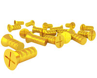 Handful of golden screws isolated on white Royalty Free Stock Image