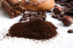 Handful of ground coffee close up Royalty Free Stock Image