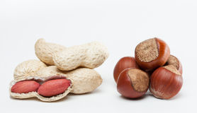 Handful of groundnuts and hazelnuts Stock Photos