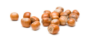Handful of hazelnuts i Stock Images