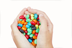 Handful of jelly beans stock photo