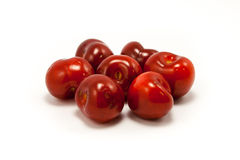 A handful of juicy ruby red cherries Royalty Free Stock Photos