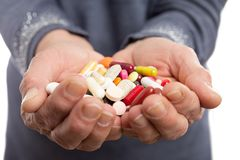 Handful of medicine closeup stock photo
