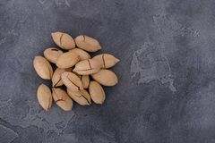 Handful of nuts pecan. View from above with space for text Stock Image