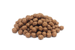 A handful of oatmeal chocolate covered balls. On a white background Royalty Free Stock Photos