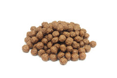 A handful of oatmeal chocolate covered balls. On a white background Stock Images