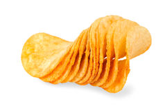 Handful of potato chips Royalty Free Stock Images