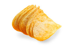 Handful of potato chips Royalty Free Stock Image