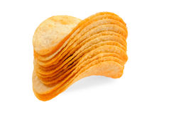 Handful of potato chips Stock Images
