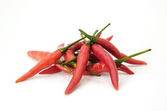Handful of red hot Thai chili papers. On white background Royalty Free Stock Images