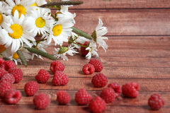 Handful of ripe raspberries and chamomile flowers on a wooden board Royalty Free Stock Photo