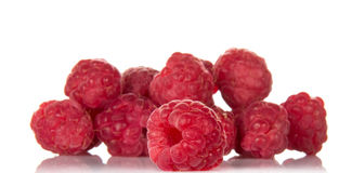 Handful of ripe raspberries Stock Photo