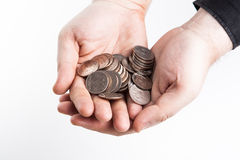 A handful of Russian rubles in his hands Stock Photography