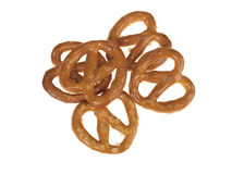 Handful of Salted Pretzel Snacks Royalty Free Stock Image