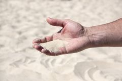 A handful of sand in the human palm stock image