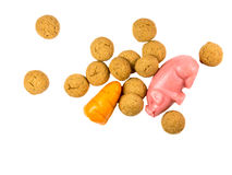 Handful of scattered Pepernoten cookies with marzipan pig and ca Stock Photography