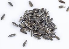 Handful of scattered sunflower seeds on a white background. stock photos