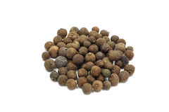 A handful of seeds of allspice. On a white background stock image