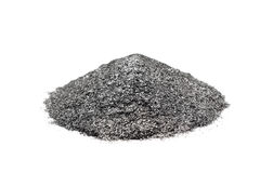 A handful of silver graphite powder. On a white background stock photos