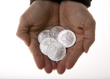 Handful of Silver Liberty Coins Stock Photo