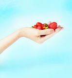 Handful of strawberries Royalty Free Stock Images