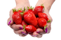 Handful of strawberries Royalty Free Stock Photography