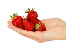 Handful of strawberries Stock Photo